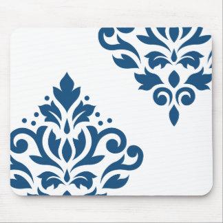 Scroll Damask Art I Blue on White Mouse Pad