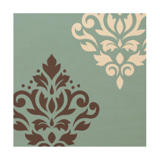 Scroll Damask Art I Brown Cream Teal