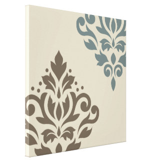 Scroll Damask Art I Brown Teal-Gray Sand Canvas Print