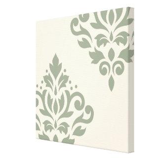 Scroll Damask Art I Cream on Green Canvas Print