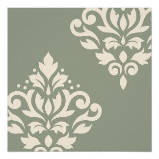 Scroll Damask Art I Cream on Green Poster