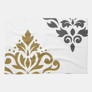 Scroll Damask Art I Gold & Grey on White Hand Towel