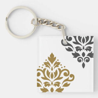 Scroll Damask Art I Gold & Grey on White Keychain