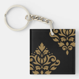Scroll Damask Art I Gold on Black Keychain