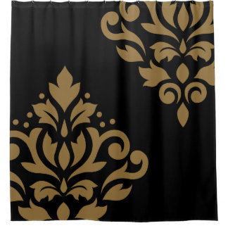 scroll damask art i gold on black shower curtain