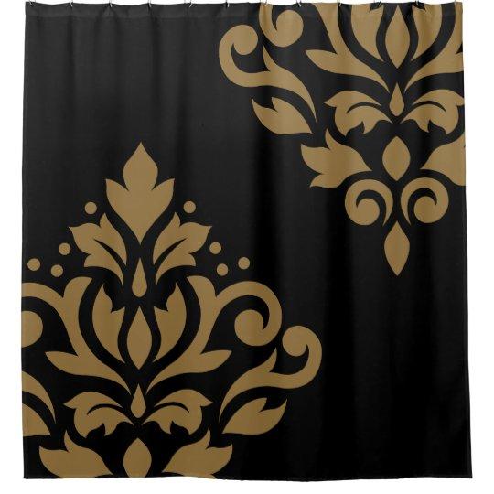 Scroll Damask Art I Gold On Black Shower Curtain