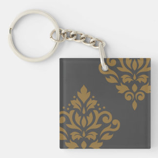 Scroll Damask Art I Gold on Grey Keychain