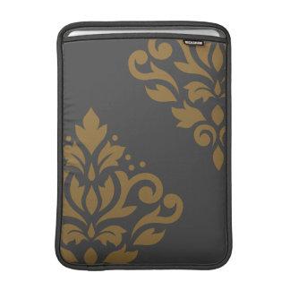 Scroll Damask Art I Gold on Grey MacBook Sleeves
