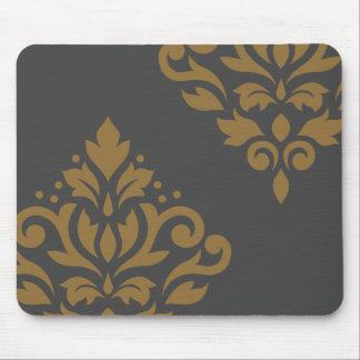 Scroll Damask Art I Gold on Grey Mouse Pad
