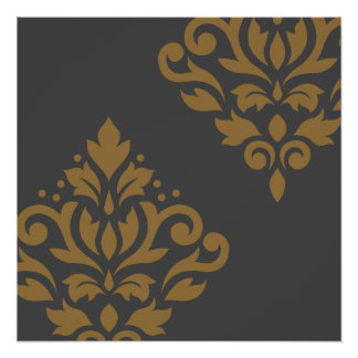 Scroll Damask Art I Gold on Grey Poster
