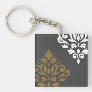 Scroll Damask Art I Gold & White on Grey Keychain