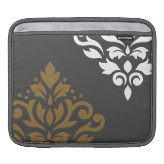 Scroll Damask Art I Gold & White on Grey Sleeves For iPads
