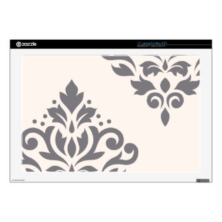 Scroll Damask Art I Grey on Cream Decals For Laptops