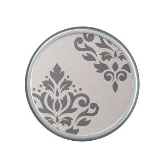 Scroll Damask Art I Grey on Cream Speaker