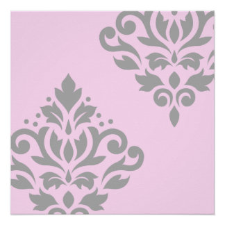 Scroll Damask Art I Grey on Pink Poster