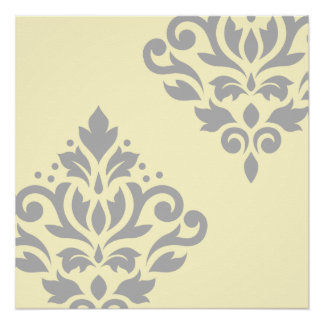 Scroll Damask Art I Grey on Yellow Poster