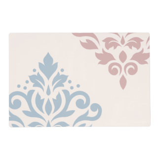 Scroll Damask Art I Light Blue & Pink on Cream Placemat