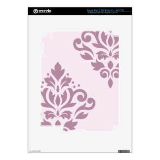 Scroll Damask Art I Mauve on Pink Decals For iPad 3