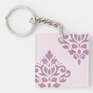 Scroll Damask Art I Mauve on Pink Keychain
