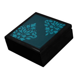 Scroll Damask Art I Mid-Teal on Dark Teal Gift Box