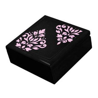 Scroll Damask Art I Pink on Black Jewelry Box