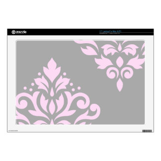 Scroll Damask Art I Pink on Grey Decal For Laptop