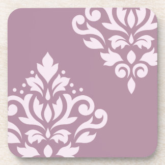 Scroll Damask Art I Pink on Mauve Beverage Coaster