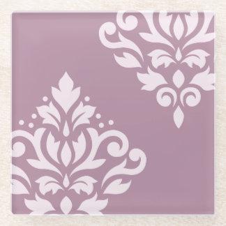 Scroll Damask Art I Pink on Mauve Glass Coaster