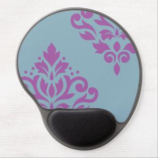 Scroll Damask Art I Plum on Blue Gel Mouse Pad