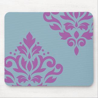 Scroll Damask Art I Plum on Blue Mousepad