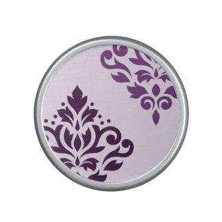 Scroll Damask Art I Purples on Pink Speaker