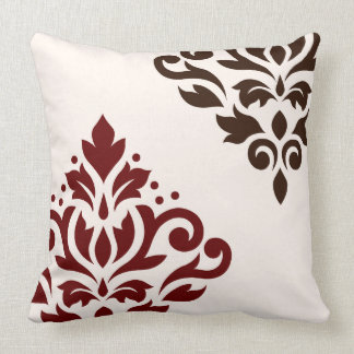 Scroll Damask Art I Red & Brown on Cream Throw Pillow