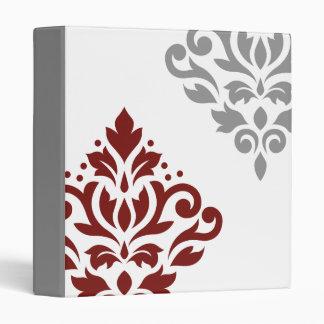 Scroll Damask Art I Red & Grey on White Binder