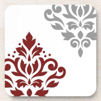 Scroll Damask Art I Red & Grey on White Drink Coaster