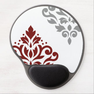 Scroll Damask Art I Red & Grey on White Gel Mouse Pad