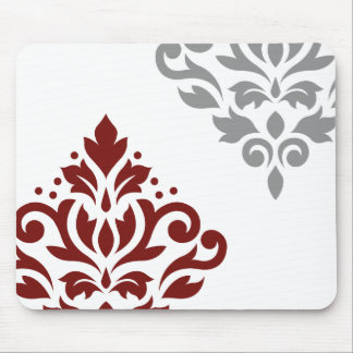 Scroll Damask Art I Red & Grey on White Mouse Pad