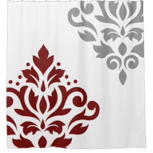Scroll Damask Art I Red Grey On White Shower Curtain