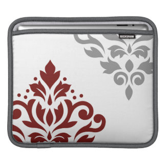 Scroll Damask Art I Red & Grey on White Sleeve For iPads
