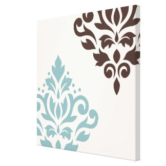 Scroll Damask Art I Teal Brown Cream Canvas Print