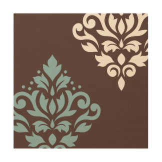 Scroll Damask Art I Teal Cream Brown