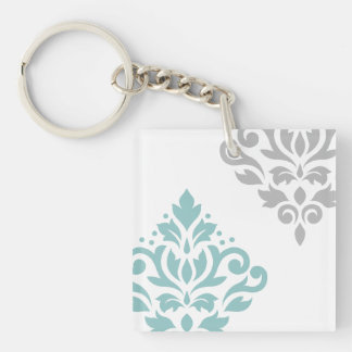 Scroll Damask Art I Teal & Grey on White Keychain