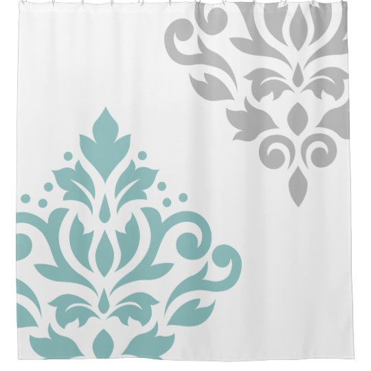Scroll Damask Art I Teal Grey On White Shower Curtain