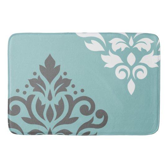 scroll damask art i white grey on light teal bathroom mat zazzle. Black Bedroom Furniture Sets. Home Design Ideas