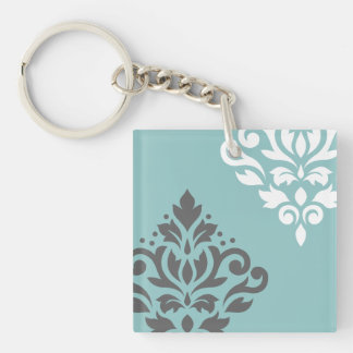 Scroll Damask Art I White & Grey on Light Teal Keychain