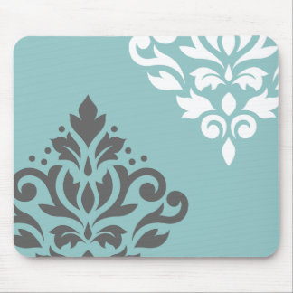 Scroll Damask Art I White & Grey on Light Teal Mouse Pad