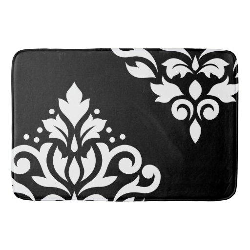 Scroll damask art i white on black bath mat zazzle for Black and white damask bath mat