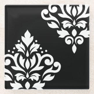 Scroll Damask Art I White on Black Glass Coaster