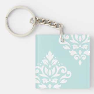 Scroll Damask Art I White on Duck Egg Blue Double-Sided Square Acrylic Keychain