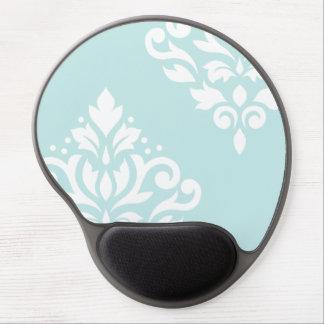 Scroll Damask Art I White on Duck Egg Blue Gel Mouse Pad