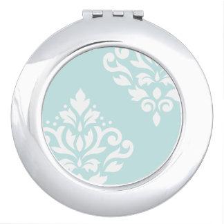 Scroll Damask Art I White on Duck Egg Blue Mirror For Makeup